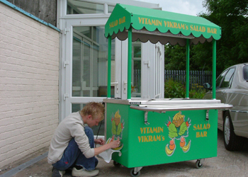Applying full colour digitally printed vinyl decals to a catering trolley